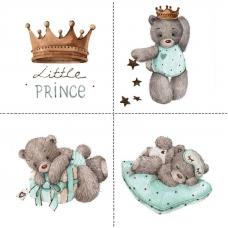 Ткань на отрез перкаль детский 150/37.5 см 02 Мишка-принц