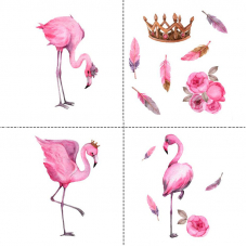 Ткань на отрез перкаль детский 150/37.5 см 06 Фламинго