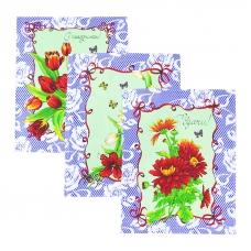 Набор вафельных полотенец 3 шт 50/60 см 549/4 Март цвет сирень