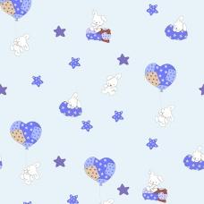 Ткань на отрез поплин 150 см 1722/2 цвет голубой