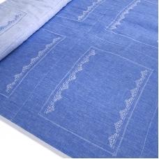 Ткань на отрез лен купонный волна цвет голубой
