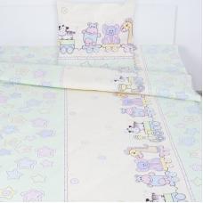 Детское постельное белье из поплина 1.5 сп 5636/4 Паровозик звездочка