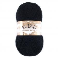 Пряжа для вязания Ализе AngoraGold (20%шерсть, 80%акрил) 100гр цвет 060 черный
