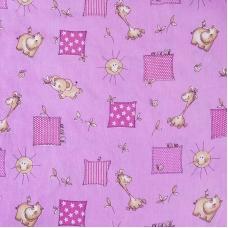 Ткань на отрез бязь 120 гр/м2  детская 150 см 366/3 Жирафики цвет розовый