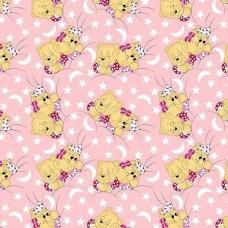 Ткань на отрез бязь ГОСТ детская 150 см 1286/2 Соня розовый