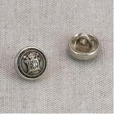 Пуговица металл ПМ66 11мм никель Герб уп 12 шт