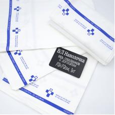 Весовой лоскут наволочка бязь отбеленная с логотипом 5 шт 70 / 70 см по 1 кг