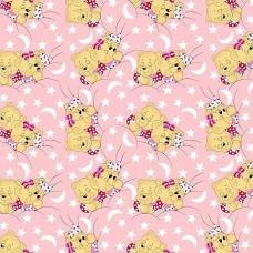 Ткань на отрез бязь 120 гр/м2  детская 150 см 1286/2 Соня розовый