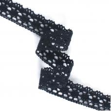 Кружево лен D1011 Чёрный 2,5см 1метр
