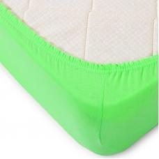 Простыня трикотажная на резинке Премиум цвет зеленый 120/200/20 см