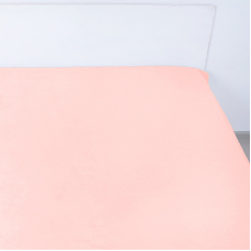 Простынь на резинке поплин цвет персик 140/200/20 см