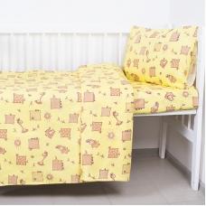 Постельное белье в детскую кроватку из бязи 366/4 Жирафики желтый ГОСТ