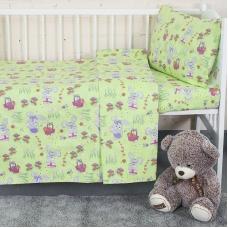 Постельное белье в детскую кроватку из бязи 1304/3 Лесная сказка зеленый ГОСТ