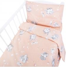 Постельное белье в детскую кроватку 1285/4 Мамонтенок персиковый с простыней на резинке