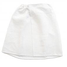 Вафельная накидка на резинке для бани и сауны Премиум женская с широкой резинкой цвет белый