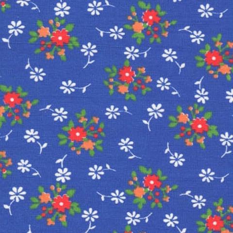 Маломеры бязь плательная 150 см 1360/2 Мелкий цветок васильковый фон 1 м