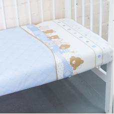 Простынь бязь детская 8078 Спящие мишки голубой 110/150 см