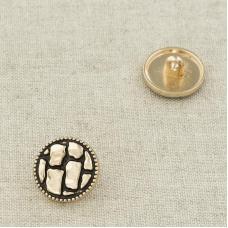 Пуговица металл ПМ109 14мм золото черная эмаль узор уп 12 шт