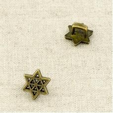 Пуговица металл ПМ114 10мм бронза звездочка уп 12 шт
