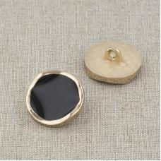 Пуговица металл ПМ116 18мм золото черная эмаль уп 12 шт