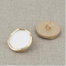 Пуговица металл ПМ116 23мм золото белая эмаль уп 12 шт