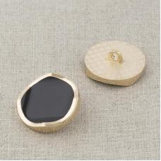 Пуговица металл ПМ116 23мм золото черная эмаль уп 12 шт