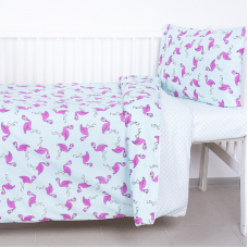 Постельное белье в детскую кроватку 434/2+388А/16 поплин с простыней на резинке