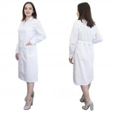 Халат женский классический рукав длинный ТиСи белая 40-42 рост 158-164