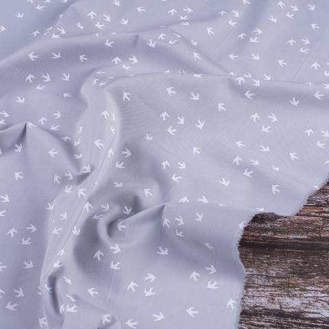 Ткань на отрез перкаль 150 см 306/6 Птички цвет бежевый