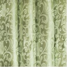 Портьерная ткань 150 см на отрез 6 цвет зеленый вензель