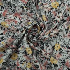 Ткань на отрез супер софт 2400 d31 Цветы на сером