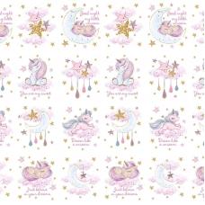 Перкаль 150 см набивной арт 140 Тейково рис 13251 вид 1 Unicorns Модель 3 Панели для подушек