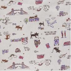 Ткань на отрез лен Кошки на бежевом
