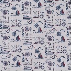 Ткань на отрез лен Морской на бежевом