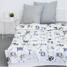 Детское постельное белье из бязи 1.5 сп 8122 Совы цвет белый