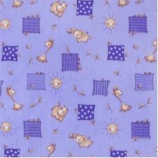 Ткань на отрез бязь 120 гр/м2  детская 150 см 366/5 Жирафики цвет фиолетовый