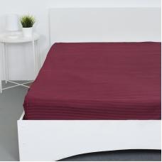 Простынь на резинке страйп-сатин 066 цвет бордовый 140*200*20 см