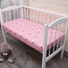 Простыня на резинке бязь детская 0421/2 цвет розовый 60/120/12 см