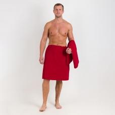 Набор для сауны вафельный Премиум мужской 2 предмета (килт шир.резинкой+полотенце) цвет 066 бордо