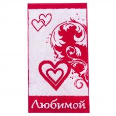 Полотенце махровое 2261 Любимой 30/60 см цвет красный