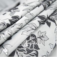 Портьерная ткань с люрексом 150 см на отрез H627 цвет 8 серый цветы