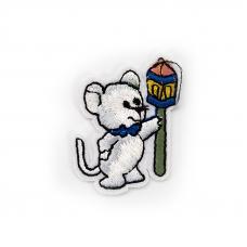 Термоаппликация ТАВ В77 мышка с фонарем 3,5*5см
