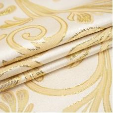 Портьерная ткань с люрексом 150 см на отрез 5222 Вензель цвет золото