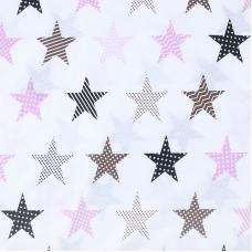 Бязь плательная 150 см 8104/1 Звезды пэчворк цвет розовый