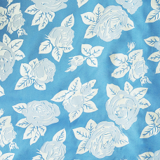 Ткань на отрез Тик 220 см 85 +/- 5 гр/м2 Розы цвет голубой