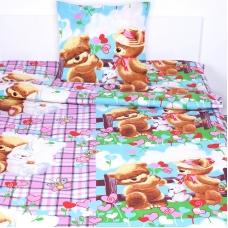 Детское постельное белье из поплина 1.5 сп 1575 Мишка с зайкой