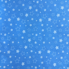 Ткань на отрез бязь 120 гр/м2 детская 150 см Звездочки на голубом