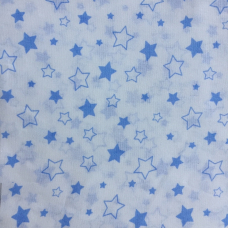 Ткань на отрез бязь 120 гр/м2 детская 150 см 7860 Звездочки б/з цвет голубой
