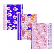 Набор вафельных полотенец 3 шт 50/60 см 1082/3 Поросята в облаках цвет розовый