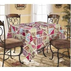 Столовый набор 4939/1 Пэчворк красный скатерть полулен 150/150+ 6 салфеток